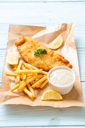fish and chips with french fries - unhealthy food Reklamní fotografie