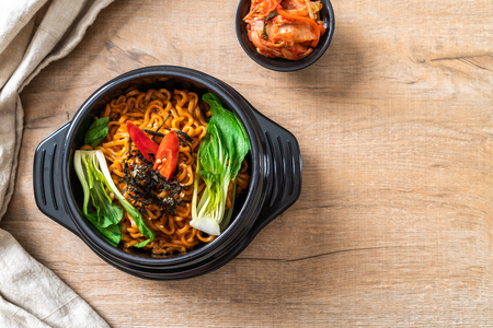 korean instant noodles with vegetable and kimchi - Korean food style Stock Photo