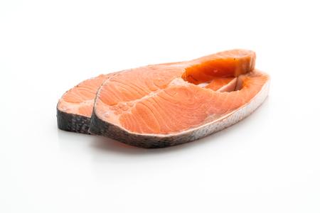 fresh salmon raw isolated on white background
