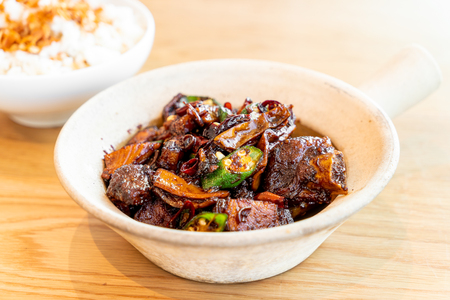 dried bak kut teh with rice - asian food style