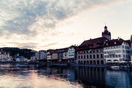 Luzern, Switzerland - August 28, 2018 : View of Luzern city, River Reuss with old building, Luzern, Switzerland, Europe.