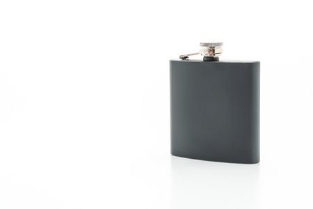 stainless steel hip flask isolated on white background Stok Fotoğraf