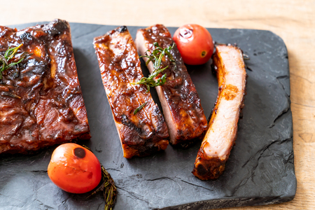grilled and barbecue ribs pork Stockfoto