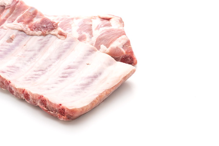 Fresh raw pork ribs isolated on white background
