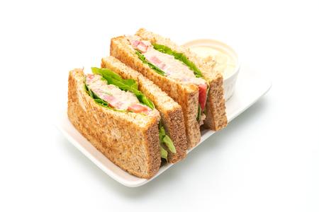Hausgemachtes Thunfisch-Sandwich isoliert auf weißem Hintergrund Standard-Bild