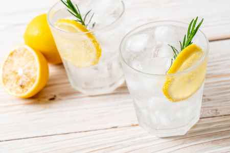 ice lemonade soda on wood background