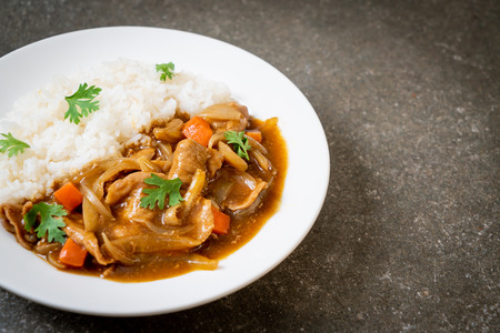 Japanese curry rice with sliced pork, carrot and onions - Asian style 免版税图像