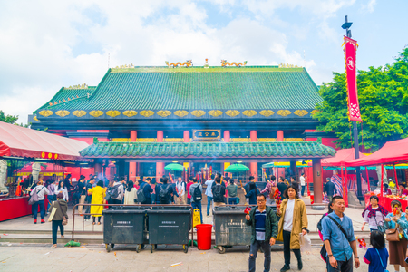 HONG KONG, CHINA - FEB 20 2019 : View of Che Kung Temple in Hong Kong, China. Che Kung Temple is landmark and the popular tourist attraction in Hong Kong. 報道画像