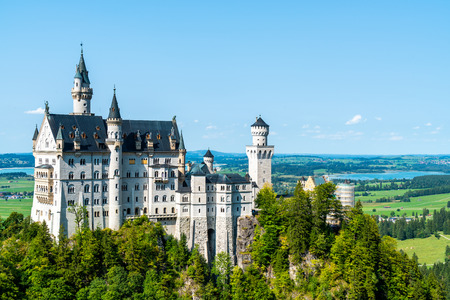 Beautiful Architecture at Neuschwanstein Castle in the Bavarian Alps of Germany with blue sky Banco de Imagens