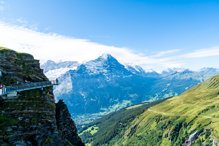 Sky cliff walk on First peak of Alps mountain at Grindelwald Switzerland. Stock Photo