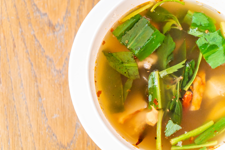 Spicy soup with Pork spare ribs - Thai local  food style Stock Photo - 123974167