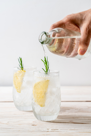 ice lemonade soda on wood background