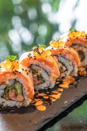 salmon sushi rolls with foie gras - japanese food style Reklamní fotografie