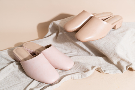Beautiful woman fashion leather shoes Stock Photo