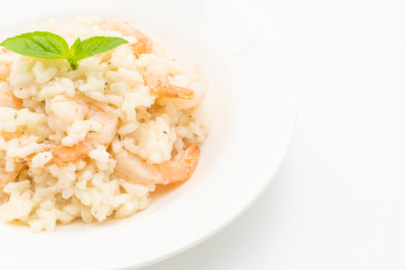 italian risotto with shrimps isolated on white background Stok Fotoğraf - 124767214