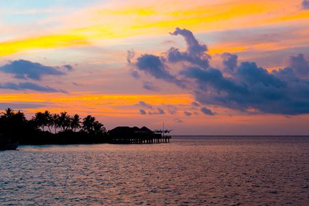 beautiful sunset sky with Maldives Island