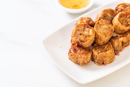 Deep Fried Crab Meat Rolls - Chinese food style Stok Fotoğraf - 124770315