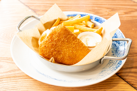 fried fish and chips - unhealthy food Stock Photo