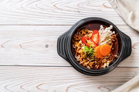 korean instant noodles in black bowl - korean food style
