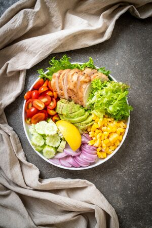 Healthy salad bowl with chicken breast - healthy food style Stock Photo