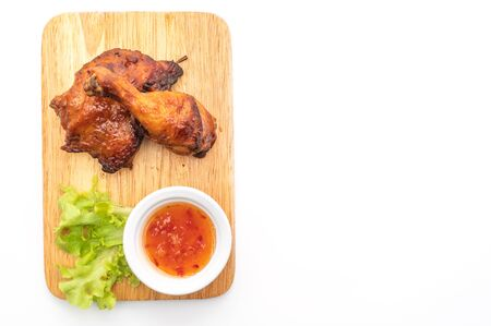 grilled and barbecue chicken isolated on white background