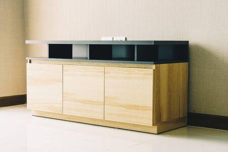 empty wooden cabinet in room interior