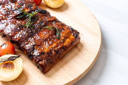 grilled and barbecue ribs pork Фото со стока