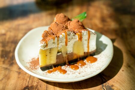 Banoffee Cake with caramel in cafe restaurant
