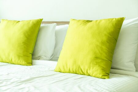 beautiful pillow on bed decoration in bedroom interior