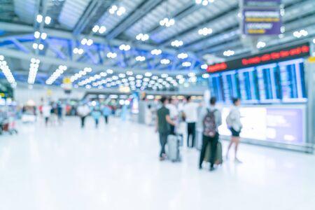 Desenfoque abstracto y interior de la terminal del aeropuerto desenfocado para el fondo Foto de archivo