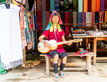 MAE HONG SON, THAILAND - FEBRUARY 6, 2019 : Northern thailand tribe villages or Karen Long Neck Village in Thailand Editorial