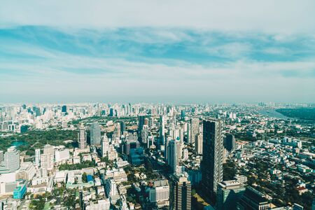 Beautiful cityscape with architecture and building in Bangkok Thailand skyline Stock Photo