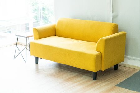 empty yellow sofa decoration in living room