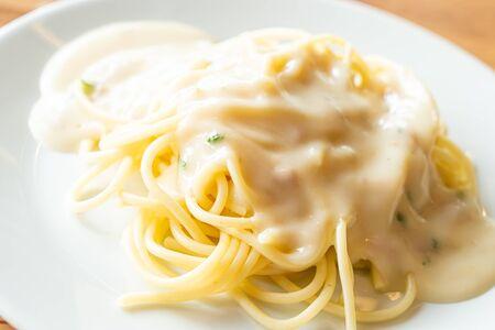 spaghetti with white cream sauce - Italian food
