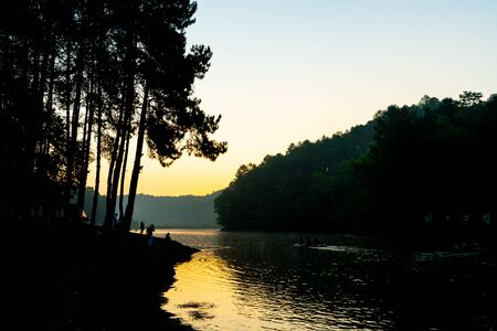 Beatiful Pang oung lake and pine forest with sunrise in Mae Hong Son , Thailand