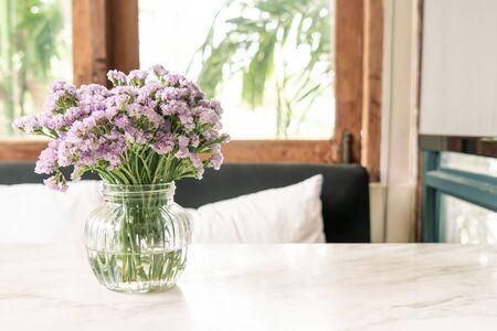 statice flower in vase decoration in living room