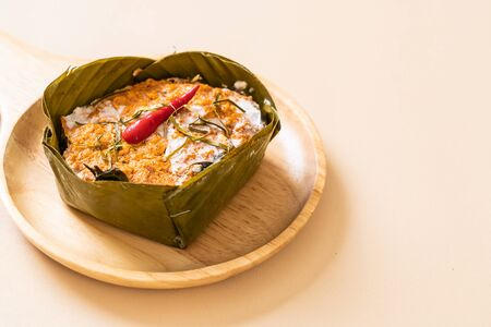 steamed fish with curry paste - Thai food style