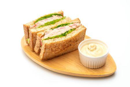 Zelfgemaakte Tonijn Sandwich geïsoleerd op witte achtergrond