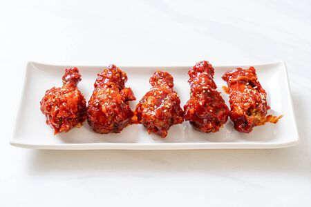 fried chicken with spicy sauce in Korean style