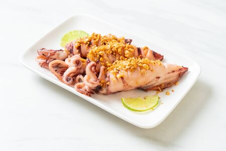 fried squid with garlic - seafood style
