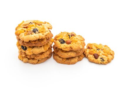 homemade cookies with cornflake raisin and almonds isolated on white background Stock Photo