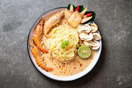spicy shrimps spaghetti pasta (Tom Yum Goong) - Italian fusion food style
