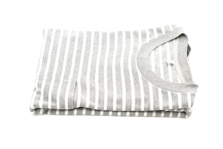 folded striped t-shirt isolated on white background 스톡 콘텐츠