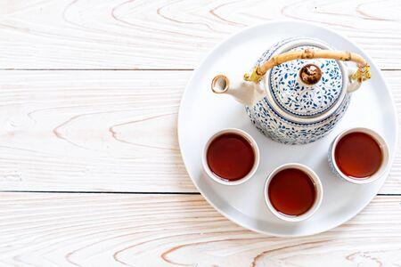 close-up beautiful Chinese tea set 스톡 콘텐츠