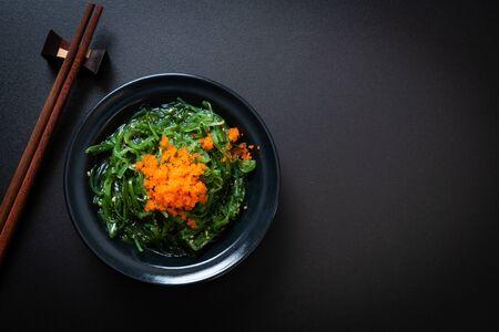seaweed salad with shrimp eggs -Japanese  food style 스톡 콘텐츠