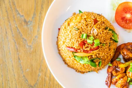 Tom Yum Fried Rice with Shrimps - Thai food style