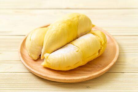 Fresh Durian Fruit on wood