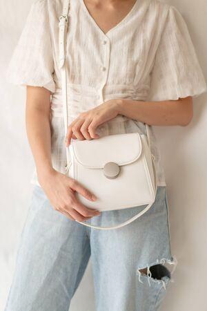 beautiful woman leather fashion bag