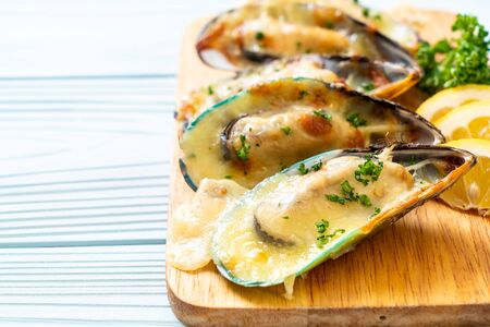 fresh mussel baked with cheese Stock fotó