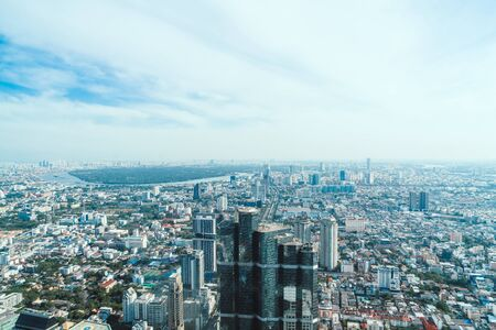 Beautiful cityscape with architecture and building in Bangkok Thailand skyline Stok Fotoğraf